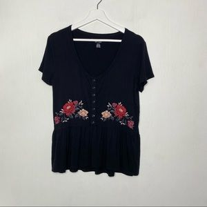 American Eagle Black Peplum Blouse with Floral Embroidery Size Medium
